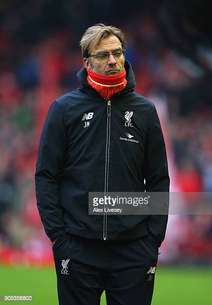 Jurgen Klopp manager of Liverpool looks on prior to the Barclays Premier League match between Liverpool and Manchester United at Anfield on January...