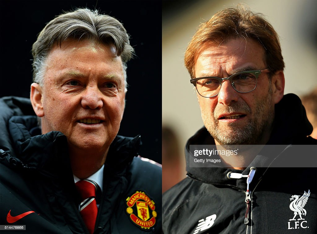 PHOTO - Image Numbers 471955028 (L) and 506385652) In this composite image a comparison has been made between Jurgen Klopp manager of Liverpool (L) and Louis van Gaal Manager of Manchester United. Liverpool and Manchester United meet in a European competition for the first time in the UEFA Europa League round of 16, the first leg is at Anfield on March 10, 2016 with the 2nd leg on March 17, 2016 at Old Trafford,Manchester, England. NORWICH, ENGLAND - JANUARY 23: Jurgen Klopp, manager of Liverpool looks on prior to the Barclays Premier League match between Norwich City and Liverpool at Carrow Road on January 23, 2016 in Norwich, England.