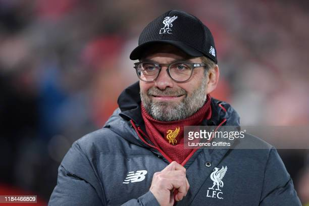 Jurgen Klopp Manager of Liverpool looks on prior to the Carabao Cup Round of 16 match between Liverpool and Arsenal at Anfield on October 30 2019 in...