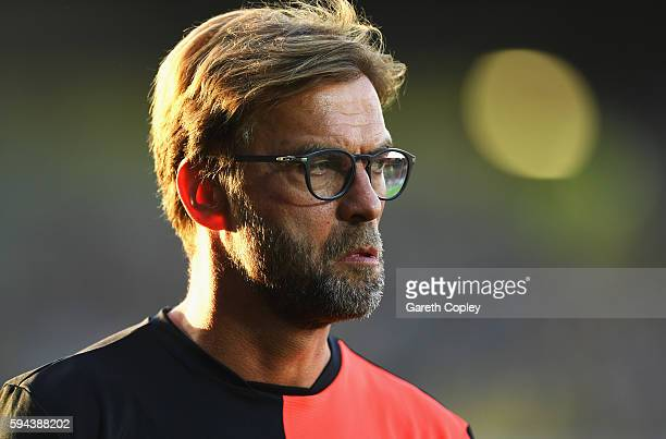 Jurgen Klopp Manager of Liverpool looks on prior to the EFL Cup second round match between Burton Albion and Liverpool at Pirelli Stadium on August...