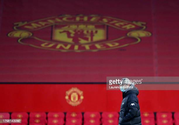 Jurgen Klopp, Manager of Liverpool looks on prior to The Emirates FA Cup Fourth Round match between Manchester United and Liverpool at Old Trafford...