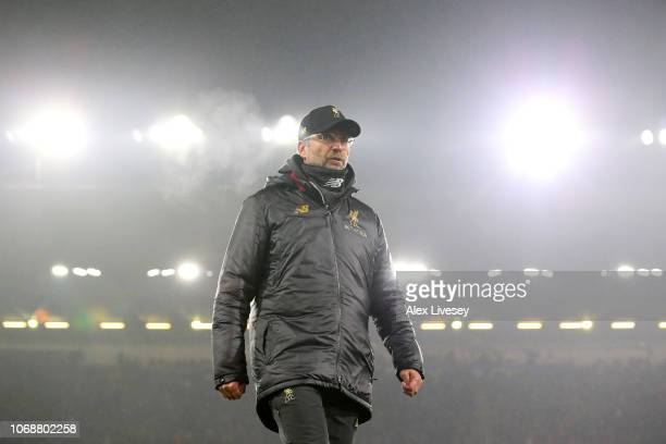 Jurgen Klopp Manager of Liverpool looks on prior to the Premier League match between Burnley FC and Liverpool FC at Turf Moor on December 5 2018 in...
