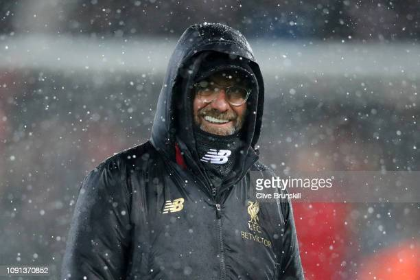 Jurgen Klopp Manager of Liverpool looks on prior to the Premier League match between Liverpool FC and Leicester City at Anfield on January 30 2019 in...