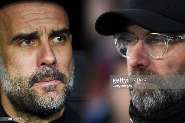 COMPOSITE OF IMAGES Image numbers 1208913670 1076708990 GRADIENT ADDED In this composite image a comparison has been made between Josep Guardiola...