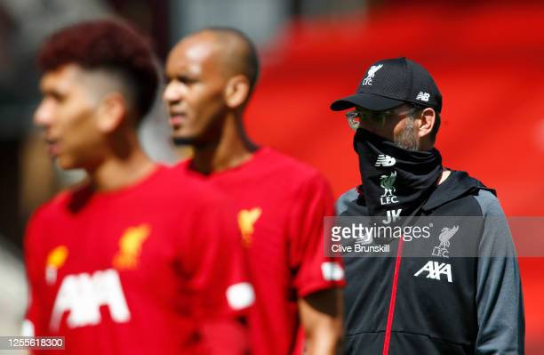 Jurgen Klopp Manager of Liverpool looks on prior to the Premier League match between Liverpool FC and Burnley FC at Anfield on July 11 2020 in...