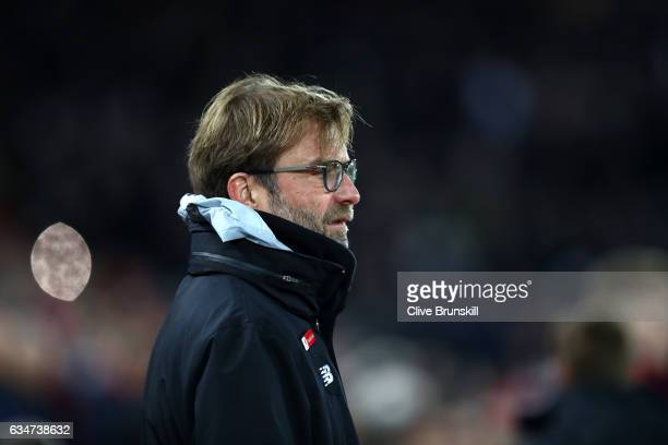 Jurgen Klopp Manager of Liverpool looks on prior to the Premier League match between Liverpool and Tottenham Hotspur at Anfield on February 11 2017...