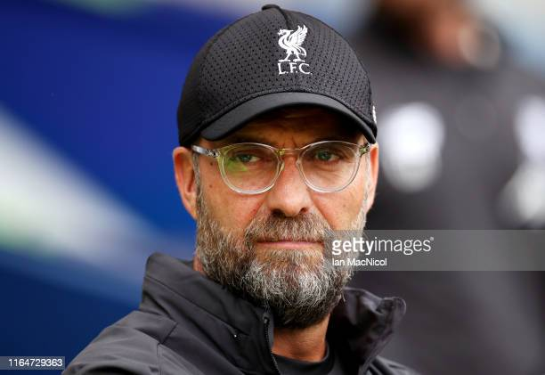 Jurgen Klopp Manager of Liverpool looks on prior to the PreSeason Friendly match between Liverpool FC and SSC Napoli at Murrayfield on July 28 2019...