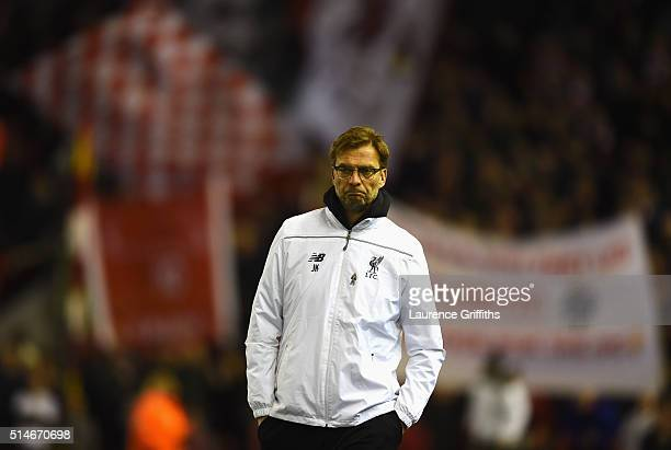Jurgen Klopp manager of Liverpool looks on prior to the UEFA Europa League Round of 16 first leg match between Liverpool and Manchester United at...