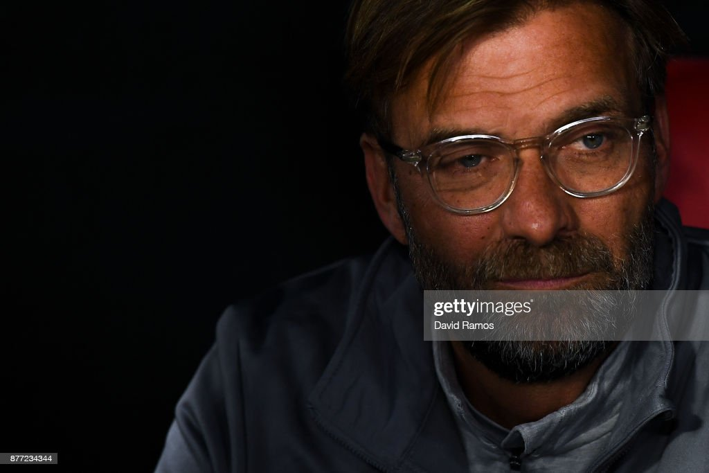 Jurgen Klopp, Manager of Liverpool, looks on prior to the UEFA Champions League group E match between Sevilla FC and Liverpool FC at Estadio Ramon Sanchez Pizjuan on November 21, 2017 in Seville, Spain.
