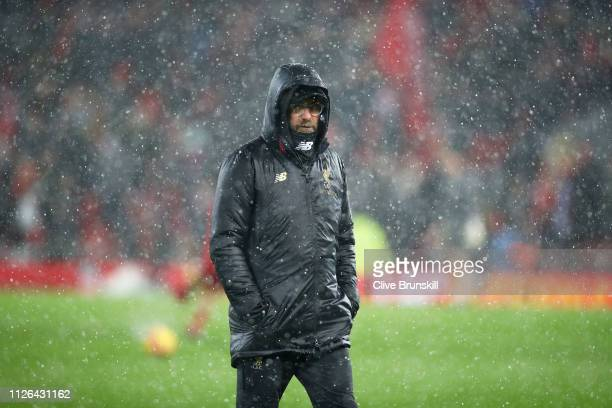 Jurgen Klopp Manager of Liverpool looks on prior toduring the Premier League match between Liverpool FC and Leicester City at Anfield on January 30...