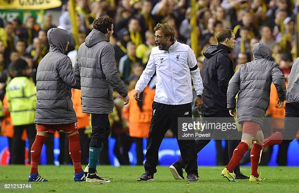 Jurgen Klopp manager of Liverpool looks shocked at the win at the end of the UEFA Europa League Quarter Final Second Leg match between Liverpool and...