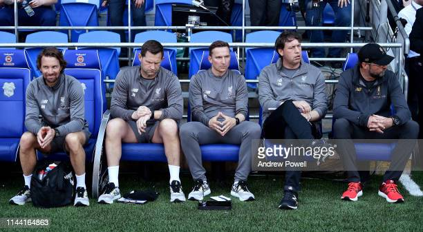 Jurgen Klopp manager of Liverpool on the bench with his Support staff Andreas Kornmayer Head of fitness and conditioning John Achterberg Firstteam...