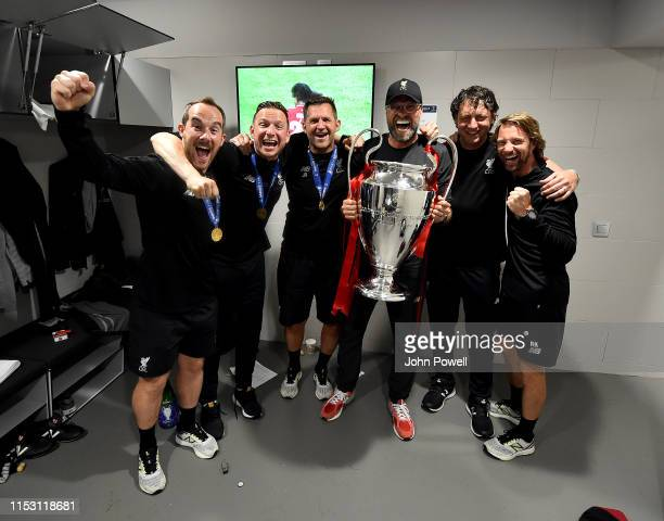 Jurgen Klopp manager of Liverpool Peter Krawietz and Pepijn Lijnders assistant manager Andreas Kornmayer head of fitness and John Achterberg and Jack...
