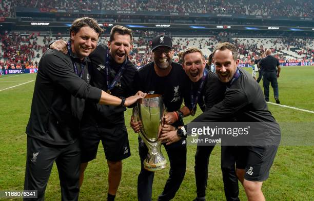 Jurgen Klopp manager of Liverpool Peter Krawietz and Pepijn Lijnders assistant managers and John Achterberg and Jack Robinson goal keeping coaches...