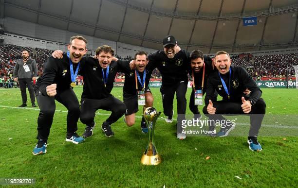 Jurgen Klopp manager of Liverpool Peter Krawietz and Pepijn Lijnders assistant managers, John Achterberg and Jack Robinson goalkeeping coaches and...