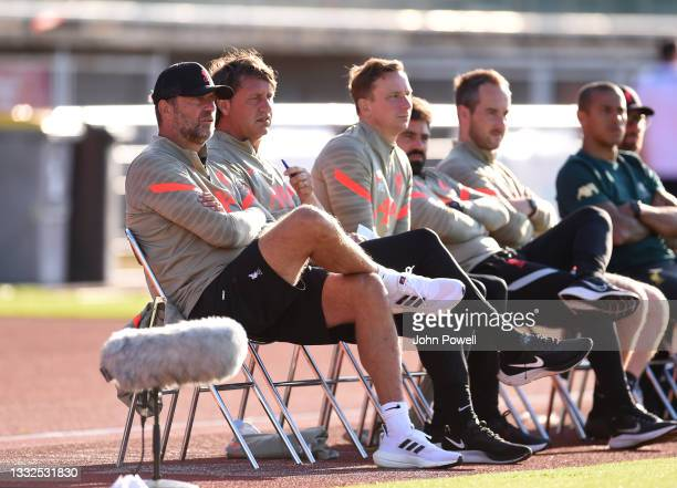 Jurgen Klopp manager of Liverpool, Peter Krawietz assistant manager of Liverpool and Pepijn Lijnders assistant manager of Liverpool during the Pre...