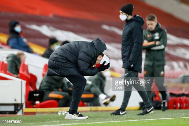 Jurgen Klopp, Manager of Liverpool reacts after an offside decision during the Premier League match between Liverpool and Manchester United at...