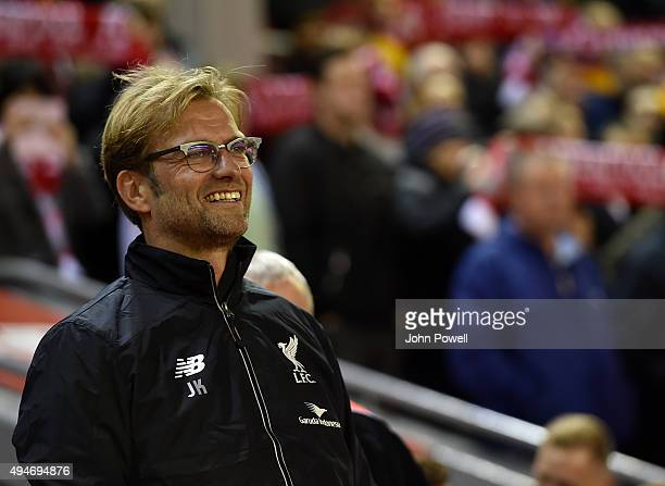 Jurgen Klopp manager of Liverpool reacts before the Capital One Cup Fourth Round match between Liverpool and AFC Bournemouth at Anfield on October 28...
