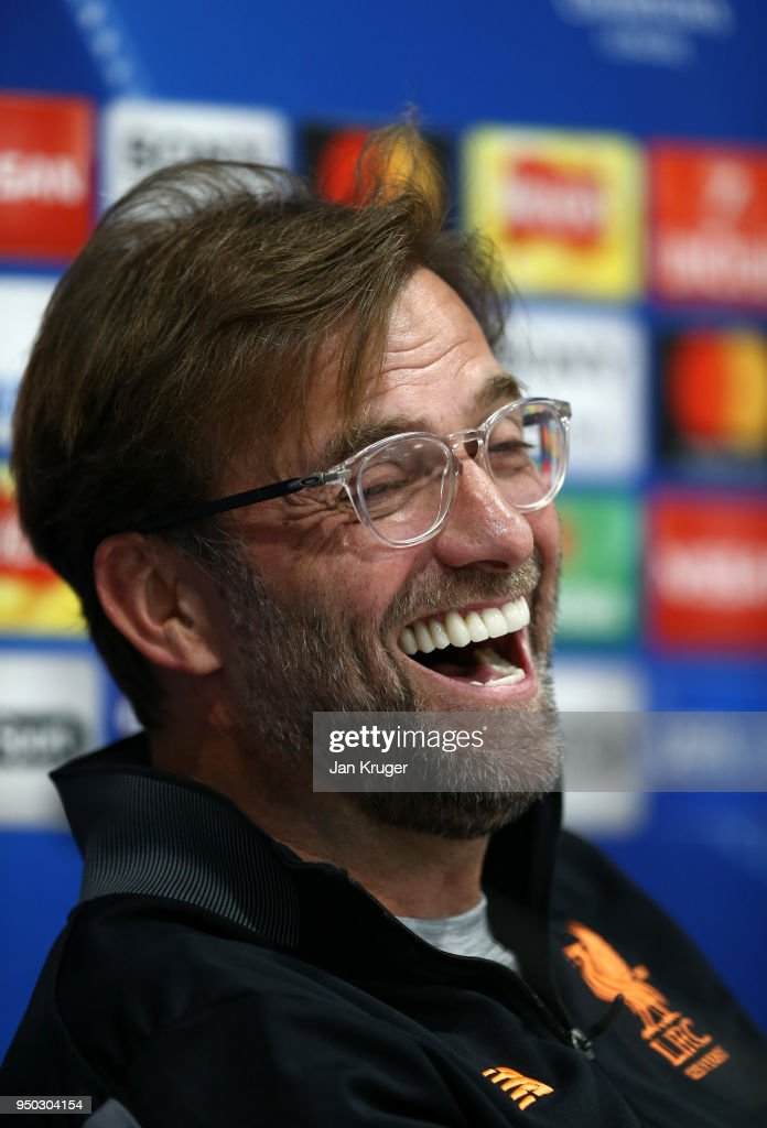 Jurgen Klopp, Manager of Liverpool reacts during a press conference at Anfield on April 23, 2018 in Liverpool, England.