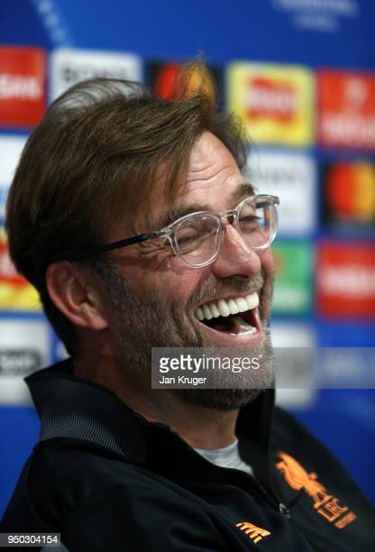 Jurgen Klopp Manager of Liverpool reacts during a press conference at Anfield on April 23 2018 in Liverpool England