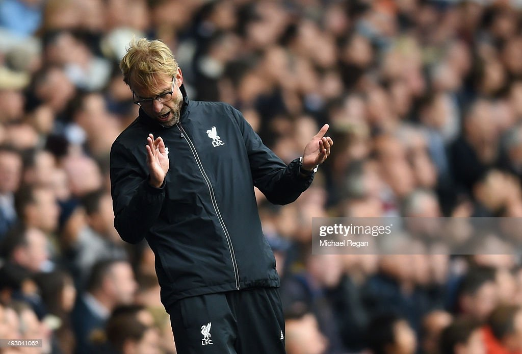 Jurgen Klopp, manager of Liverpool reacts during the Barclays Premier League match between Tottenham Hotspur and Liverpool at White Hart Lane on October 17, 2015 in London, England.