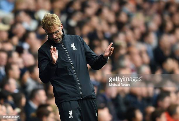 Jurgen Klopp manager of Liverpool reacts during the Barclays Premier League match between Tottenham Hotspur and Liverpool at White Hart Lane on...