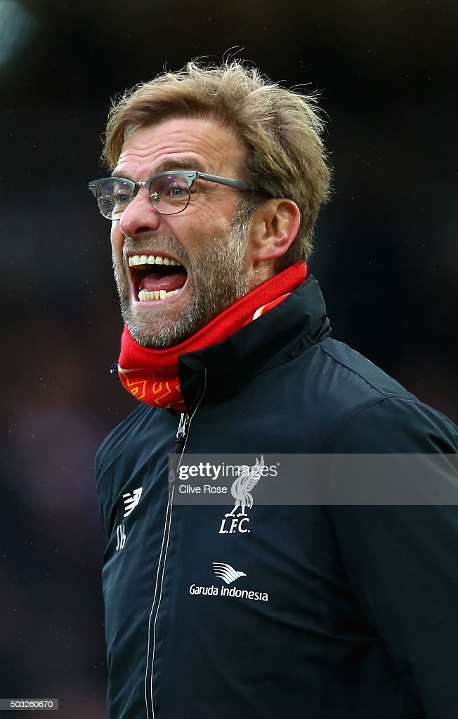 Jurgen Klopp, manager of Liverpool reacts during the Barclays Premier League match between West Ham United and Liverpool at Boleyn Ground on January 2, 2016 in London, England.