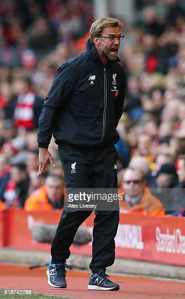Jurgen Klopp manager of Liverpool reacts during the Barclays Premier League match between Liverpool and Tottenham Hotspur at Anfield on April 2 2016...