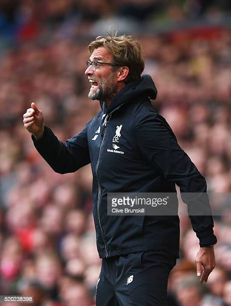 Jurgen Klopp manager of Liverpool reacts during the Barclays Premier League match between Liverpool and Stoke City at Anfield on April 10 2016 in...