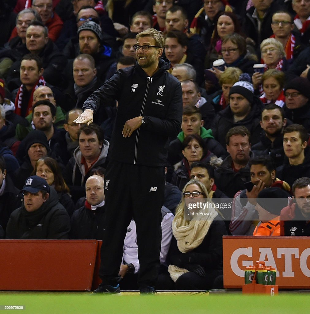 Jurgen Klopp manager of Liverpool reacts during the Capital One Cup Semi Final: Second Leg between Liverpool and Stoke City at Anfield on January 26, 2016 in Liverpool, England.