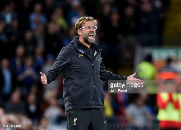 Jurgen Klopp manager of Liverpool reacts during the Carabao Cup Third Round match between Liverpool and Chelsea at Anfield on September 25 2018 in...