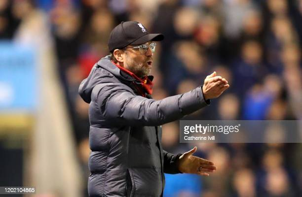 Jurgen Klopp Manager of Liverpool reacts during the FA Cup Fourth Round match between Shrewsbury Town and Liverpool at New Meadow on January 26 2020...