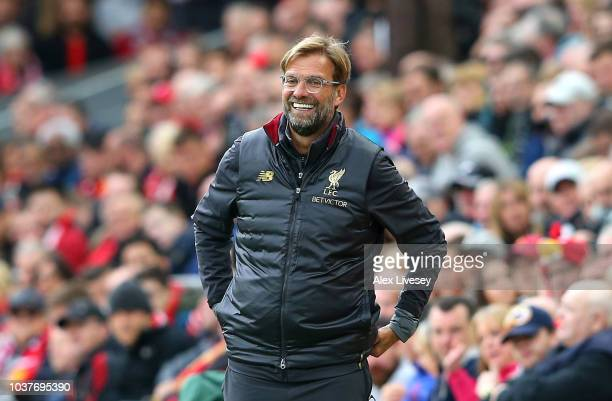Jurgen Klopp Manager of Liverpool reacts during the Premier League match between Liverpool FC and Southampton FC at Anfield on September 22 2018 in...