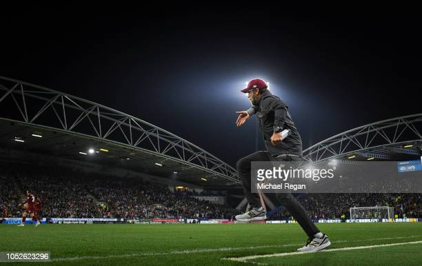 Jurgen Klopp manager of Liverpool reacts during the Premier League match between Huddersfield Town and Liverpool FC at John Smith's Stadium on...