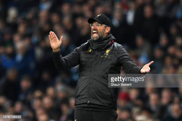 Jurgen Klopp Manager of Liverpool reacts during the Premier League match between Manchester City and Liverpool FC at the Etihad Stadium on January 3...