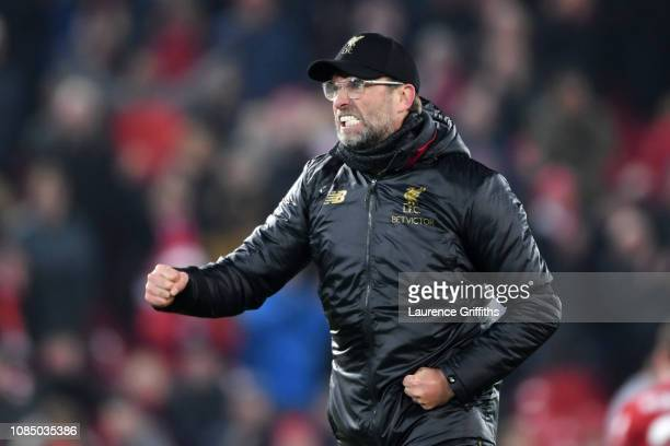 Jurgen Klopp Manager of Liverpool reacts during the Premier League match between Liverpool FC and Crystal Palace at Anfield on January 19 2019 in...