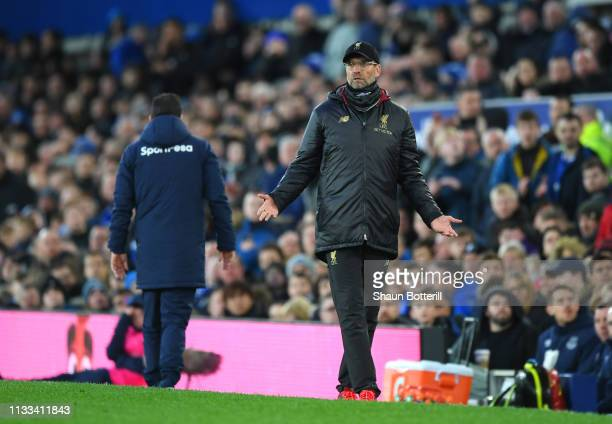 Jurgen Klopp Manager of Liverpool reacts during the Premier League match between Everton FC and Liverpool FC at Goodison Park on March 03 2019 in...