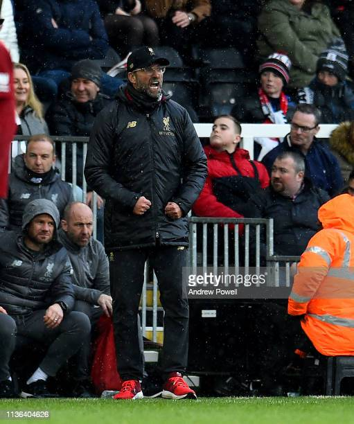 Jurgen Klopp manager of Liverpool reacts during the Premier League match between Fulham FC and Liverpool FC at Craven Cottage on March 17 2019 in...