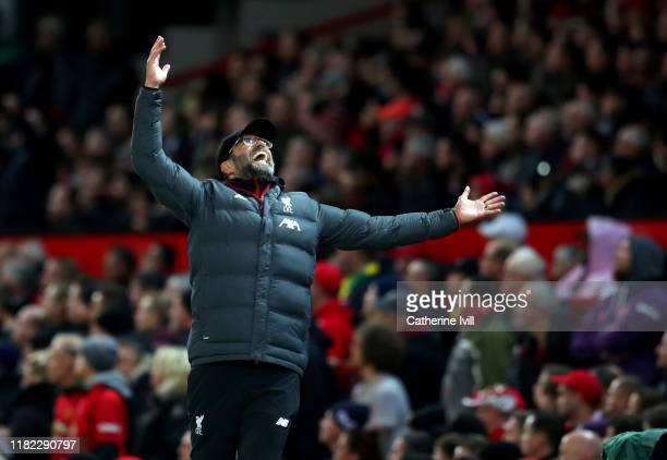Jurgen Klopp manager of Liverpool reacts during the Premier League match between Manchester United and Liverpool FC at Old Trafford on October 20...