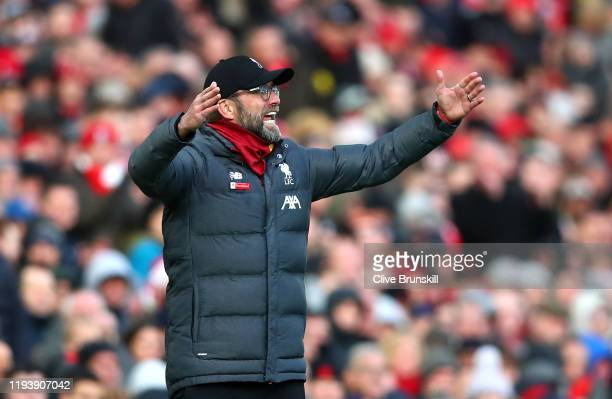 Jurgen Klopp Manager of Liverpool reacts during the Premier League match between Liverpool FC and Watford FC at Anfield on December 14 2019 in...