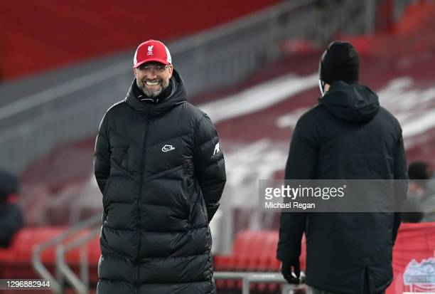 Jurgen Klopp, Manager of Liverpool reacts during the Premier League match between Liverpool and Manchester United at Anfield on January 17, 2021 in...