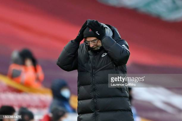 Jurgen Klopp, Manager of Liverpool reacts during the Premier League match between Liverpool and Manchester City at Anfield on February 07, 2021 in...