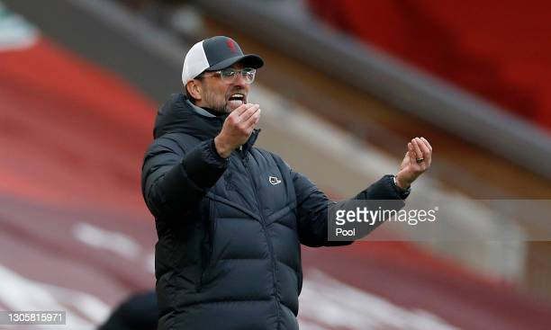Jurgen Klopp, Manager of Liverpool reacts during the Premier League match between Liverpool and Fulham at Anfield on March 07, 2021 in Liverpool,...