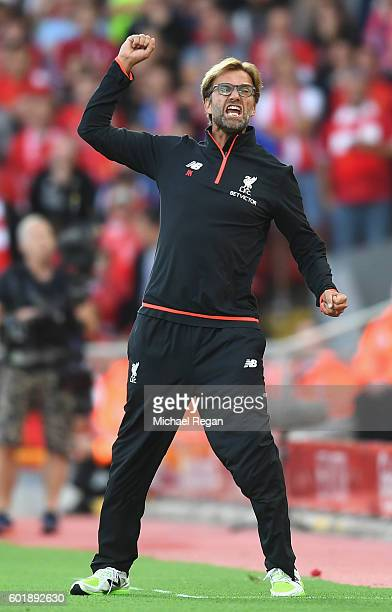 Jurgen Klopp Manager of Liverpool reacts during the Premier League match between Liverpool and Leicester City at Anfield on September 10 2016 in...