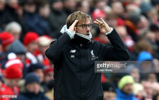 Jurgen Klopp Manager of Liverpool reacts during the Premier League match between Liverpool and Swansea City at Anfield on January 21 2017 in...