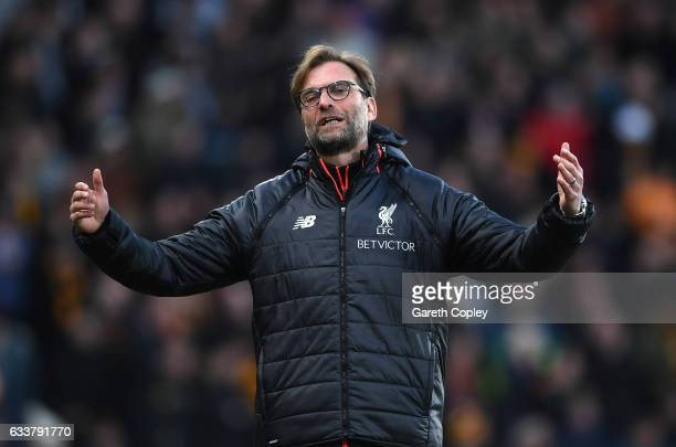 Jurgen Klopp Manager of Liverpool reacts during the Premier League match between Hull City and Liverpool at KCOM Stadium on February 4 2017 in Hull...