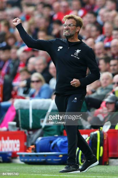 Jurgen Klopp Manager of Liverpool reacts during the Premier League match between Liverpool and Burnley at Anfield on September 16 2017 in Liverpool...
