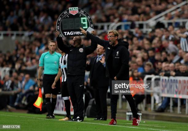 Jurgen Klopp Manager of Liverpool reacts during the Premier League match between Newcastle United and Liverpool at St James Park on October 1 2017 in...