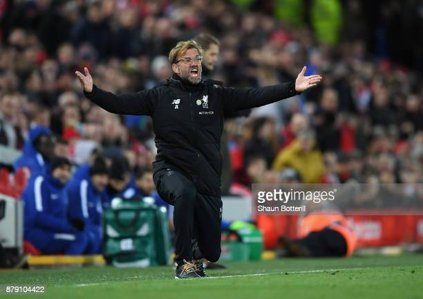 Jurgen Klopp Manager of Liverpool reacts during the Premier League match between Liverpool and Chelsea at Anfield on November 25 2017 in Liverpool...