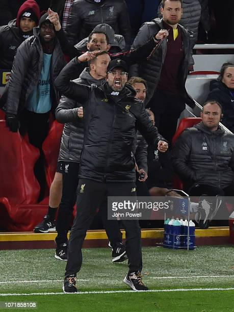 Jurgen Klopp Manager of Liverpool reacts during the UEFA Champions League Group C match between Liverpool and SSC Napoli at Anfield on December 11...
